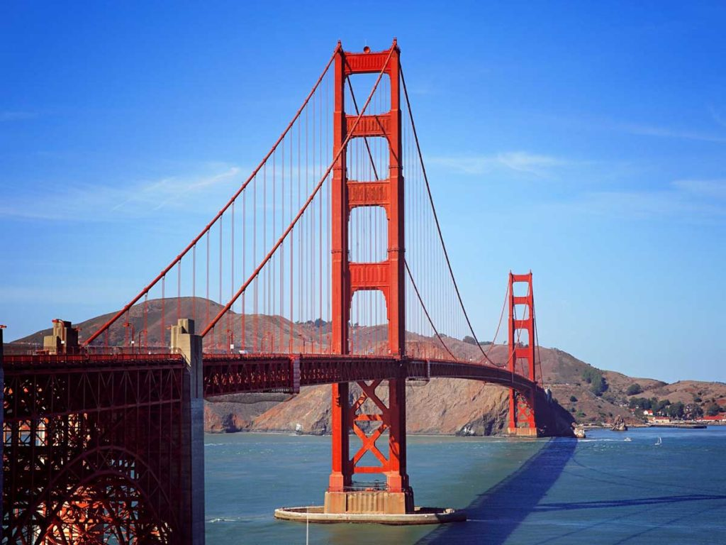 The Golden Gate Bridge on a sunny day.
